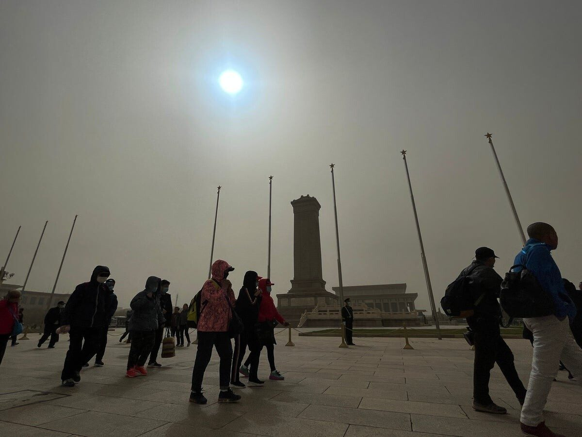 beijing sandstorm makes sun appear blue and sky yellow 1 - Hundreds of abandoned animals die at Pakistan pet markets
